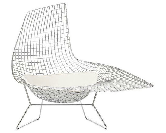 Bertoia Asymmetric Chaise With Seat Pad - Designed by Harry Bertoia over 50 years ago for Knoll, the Bertoia Asymmetric Chaise remained a prototype until 2005, when Knoll brought it into production. I love the free form sculptural shape of this piece; it's a work of art as much as it is seating.