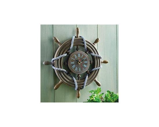 Rustic Ship Wheel Decorative Nautical Wall Clock -