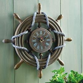 Rustic Ship Wheel Decorative Nautical Wall Clock traditional-wall-clocks