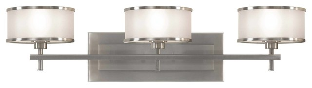 Murray Feiss Casual Luxury Bathroom Lighting Fixture in Brushed Steel contemporary-bathroom-vanity-lighting