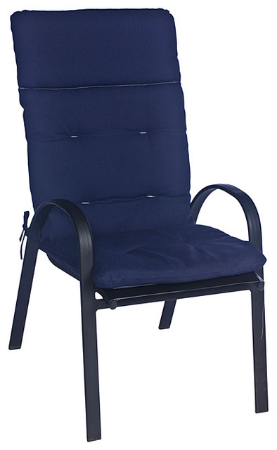 Ali Patio Polyester Navy Blue Solid Tufted Hi Back Outdoor Arm Chair Cushion