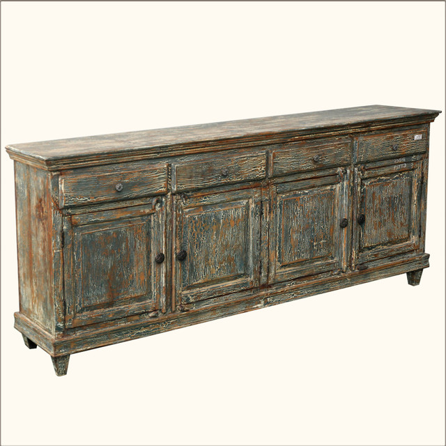 "Distressed Shaker Reclaimed 83"" Sideboard Buffet Cabinet rustic-buffets-and-sideboards"