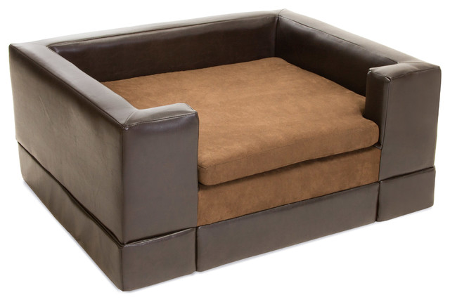 Rover chocolate brown leather dog sofa bed large contemporary dog beds by great deal Large couch bed