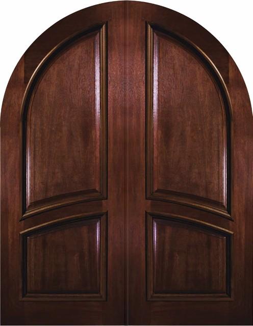Prehung Exterior Double Door 96 Wood Mahogany 2 Panel
