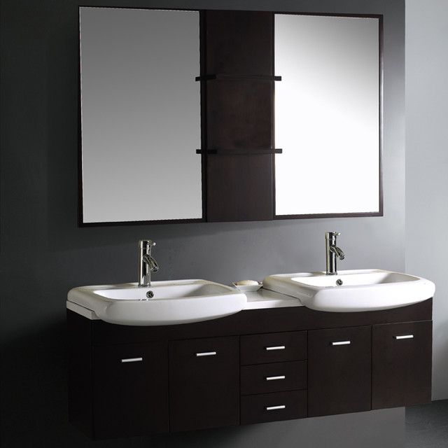 VG09001104K Double Bathroom Vanity With Mirrors And Shelves Modern Bath