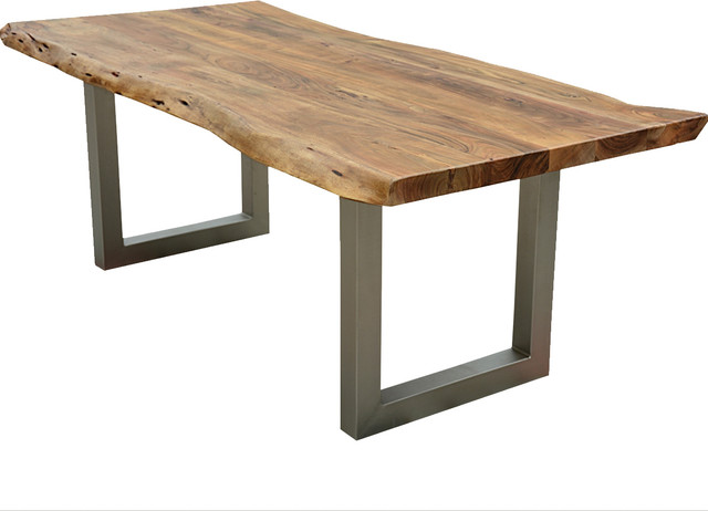 Live Edge Modern Rustic Industrial Iron Base Dining Table