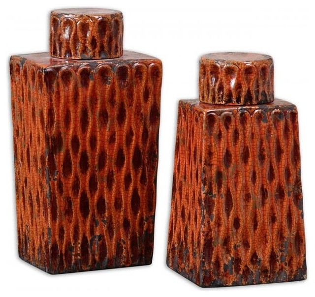 Burnt Orange Ceramic Se Contemporary Home Decor Philadelphia