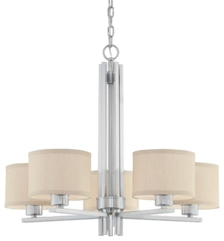 Dolan Designs Tecido 5-Light Chandelier With Beige Shades contemporary chandeliers