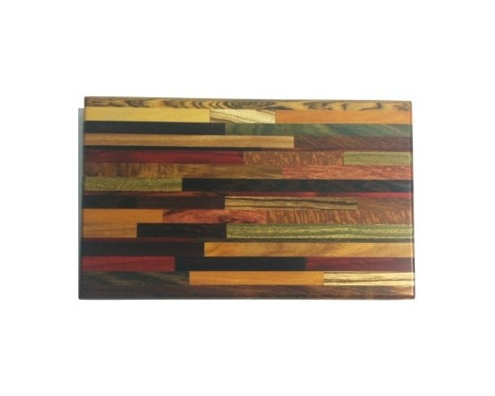"""Exotic Chopping Blocks - 8"""" x 12"""" Brick Pattern Cutting Board - This board is beautiful in its uniqueness and functional due to its make. There are many woods in this board, some of which being Chokte Viga and Canary from South America, Verawood from Venezula, Australian Lace Wood, Tiger's Eye from Mexico, and Zebra form Africa. All the woods are their natural colors. There has been no paint or stain added."""