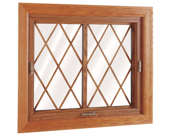 "Flip & Wash Windows - Interior view of Wellington Flip and Wash Window; shown in Country Oak with 5/8"" Flat Diamond Grids."
