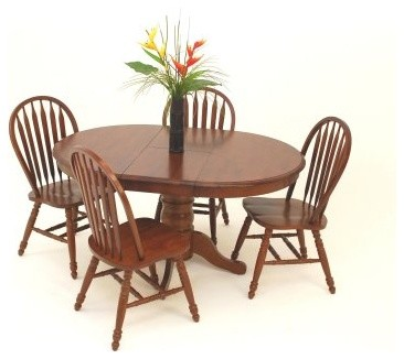 Casual Home 5 Piece Oval Solid Wood Pedestal Table Set with arrow back Chairs - modern-dining-tables
