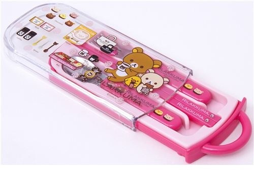 Pink Rilakkuma Bento Cutlery Set Chocolate & Coffee - Lunch Boxes And ...