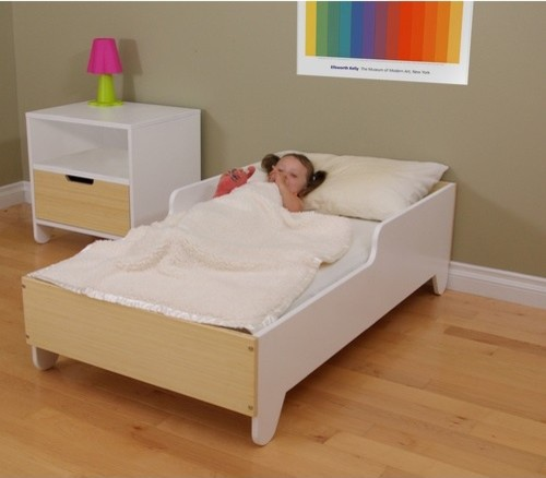 Hiya toddler bed in birch white modern kids beds for Modern kids furniture