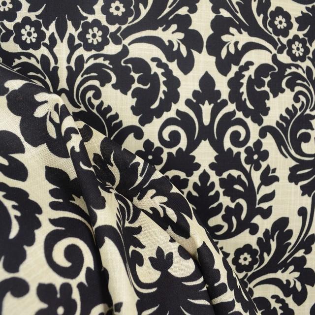 Waverly 669817 essence onyx black cream damask fabric traditional