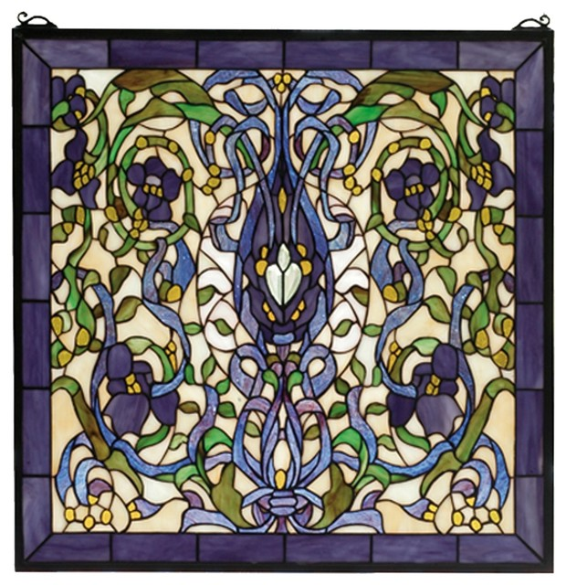 Meyda Tiffany Floral Fantasy Window X-08266 contemporary-stained-glass-panels