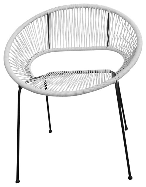Acapulco Outdoor Patio Dining Chair, White Lightning modern-outdoor-power-equipment