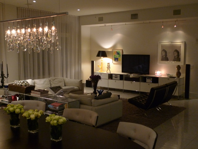 Luxe Downtown Condo contemporary-living-room