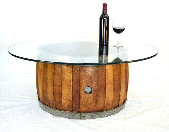 Wine Barrel Coffee Table With Offset Staves Rustic Coffee Tables