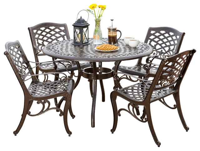 Covington outdoor 5pcs cast aluminum dining set for Great deals on outdoor furniture
