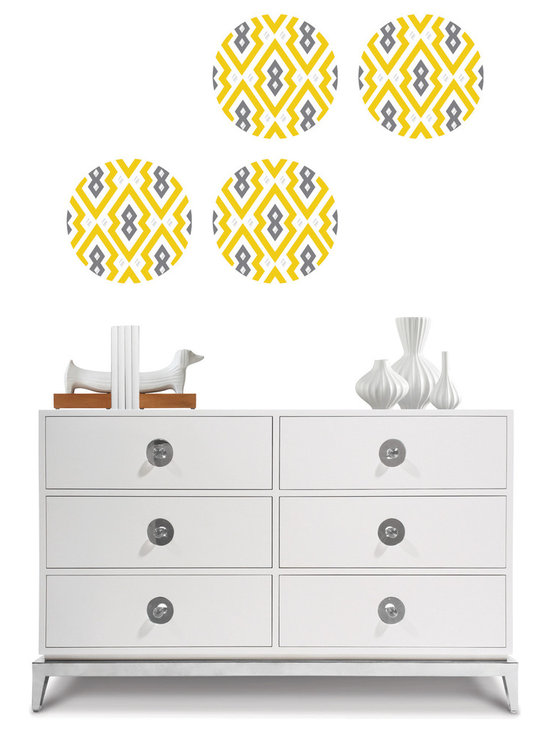 Aztec Diamond Dots - Designer WallPops wall decals by Jonathan Adler. Aztec Diamond has a happy chic tribal motif in a sunny yellow palette.