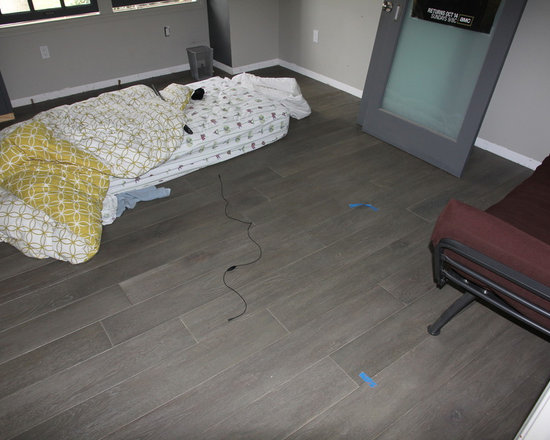 Residential remodel - Pacific Palisades - Custom European oak floor installed.