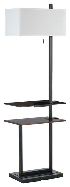 Cal Lighting BO-2448FL 100W Mena Metal Floor Lamp With Dual Layer Tray Tables contemporary-floor-lamps