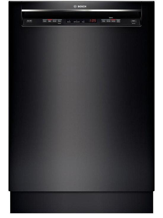 "Bosch 24"" Recessed Handle 300 Series Dishwasher Black | SHE53T56UC - 46 dBA- Quietest Brand Detergent Tray Optimizes Detergent Dissolving AquaStop Leak Protection Works 24/7 Self-Latching Door"