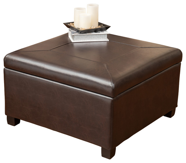 Sabrina Leather Storage Ottoman Coffee Table