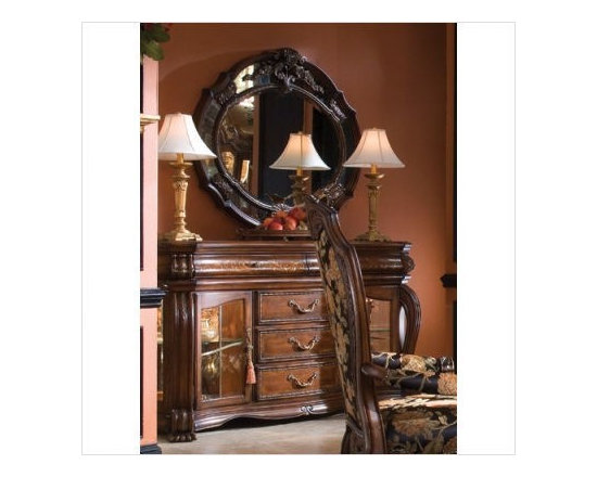 AICO Furniture - Oppulente Sideboard and Mirror Set in Sienna Spice - 67007-52/6 - Set includes Sideboard and Mirror