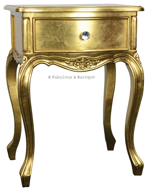 Sabine Side Table Gold Traditional Nightstands And
