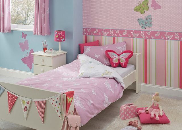 Butterfly design girls bedroom contemporary kids by b q for Butterfly bedroom ideas