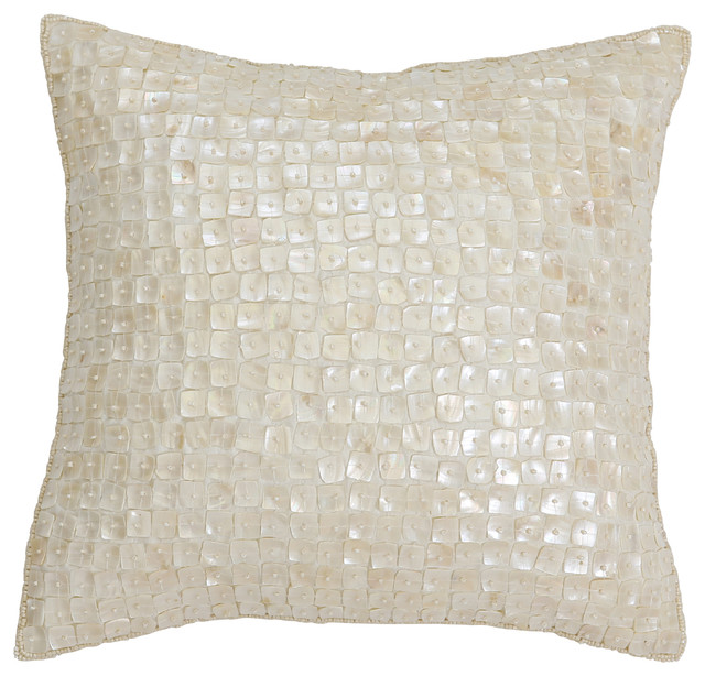 Decorative Pearl Pillow : Mother-of-Pearl Pillow, Ivory - Modern - Decorative Pillows - by Best Home Fashion