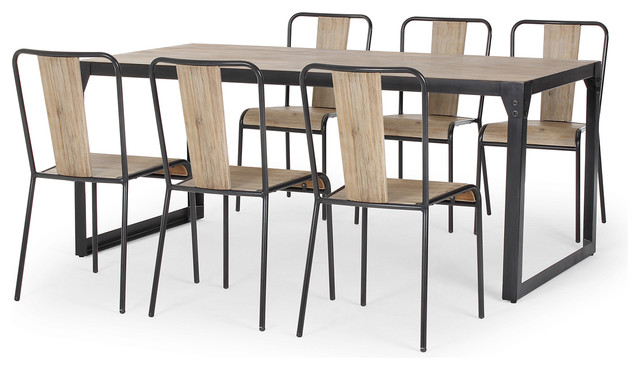 Brunel Industrial Dining Set With 6 Chairs Modern Dining Table Sets Lon
