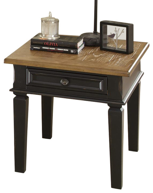 Liberty furniture bungalow ii 28x24 rectangular end table for Light wood side table