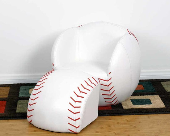 Kids Furniture - Give your little Baseball fan the best seat in the house with this chair and ottoman set. Featuring soft faux leather and thick padded cushion, with sturdy wooden bases. It can be easily cleaned with mild soap and water. Sized perfectly for children.