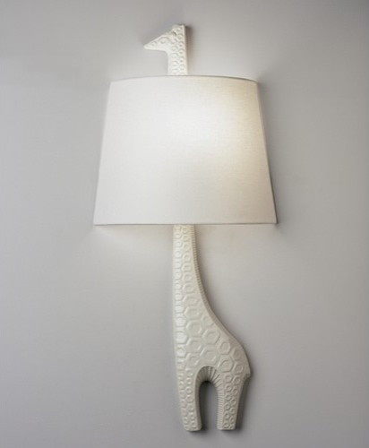 Jonathan Adler Left Facing Giraffe Wall Sconce in White Glaze eclectic wall sconces