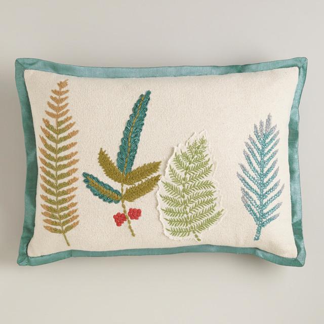 Modern Decorative Lumbar Pillows : Botanist's Leaves Lumbar Pillow - Contemporary - Decorative Pillows - by Cost Plus World Market