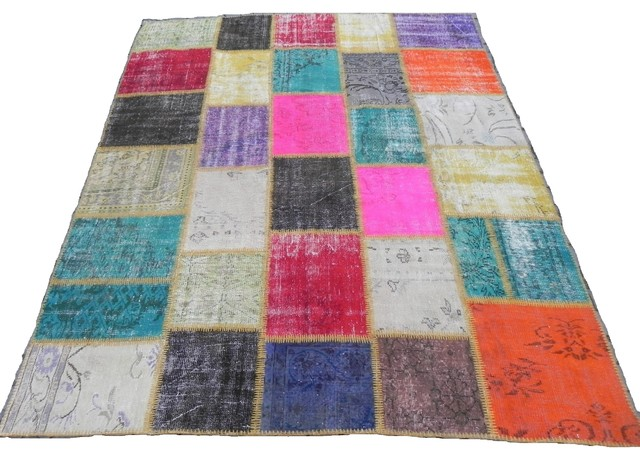 PATCHWORK RUGS Made from Overdyed Vintage Turkish Carpets contemporary-rugs