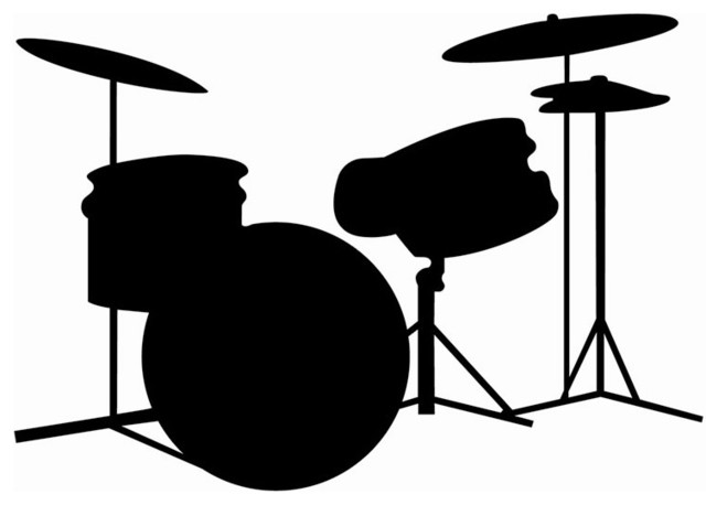 Drum Set Silhouette Wall Decal w Erasable Chalkboard Finish eclectic-wall-decals