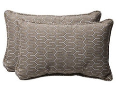 Pillow Perfect 18.5 x 11.5 Decorative Taupe Contemporary Toss Pillows - Set of 2 modern outdoor pillows