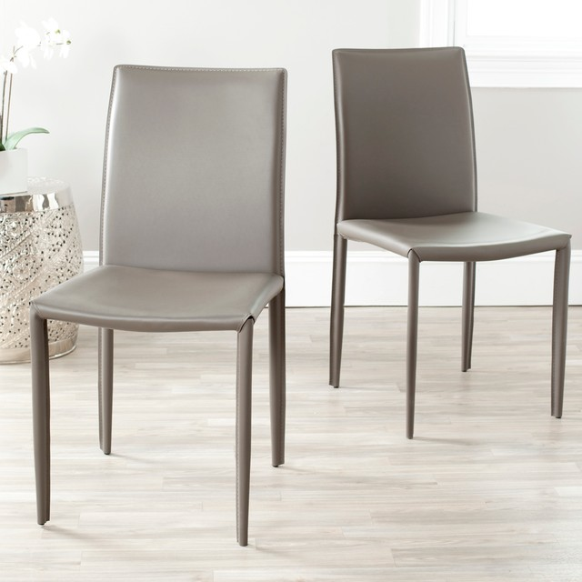 Bonded Leather Grey Side Chair Set Of 2 Contemporary Dining Chairs