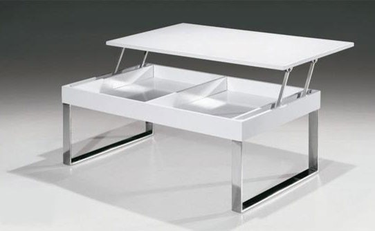Contemporary Modern White Coffee Table With Lift Top Jet