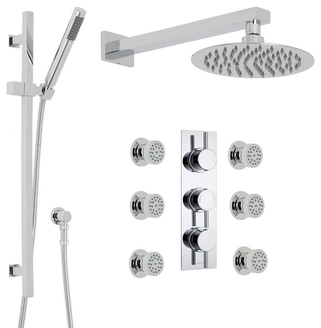 "Quest Thermostatic Shower System Set 3 Outlets 8"" Rain Head Handset Kit 6 Sprays modern-showers"