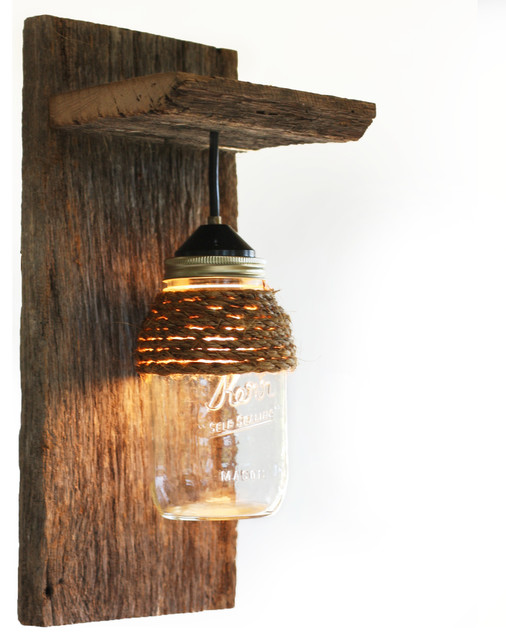 Rustic Wooden Wall Sconces : Barn Wood Mason Jar Light Fixture, With Rope Detail - Rustic - Wall Sconces - by Grindstone Design