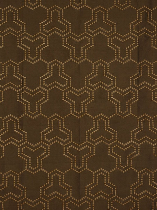 Brown Custom Made Embroidered Dupioni Silk Curtains - Simple embroidered spots form a maze-like patterns. Panels are crisp and give your room a more finished look.