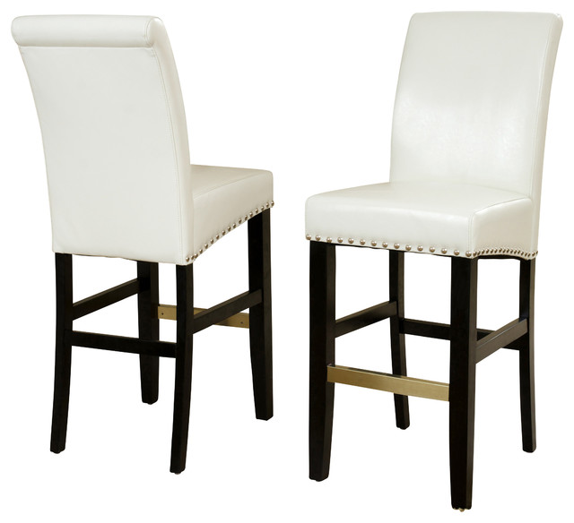 Carmen Leather Stools Set of 2 Ivory Bar Height  : contemporary bar stools and counter stools from houzz.com size 640 x 584 jpeg 45kB