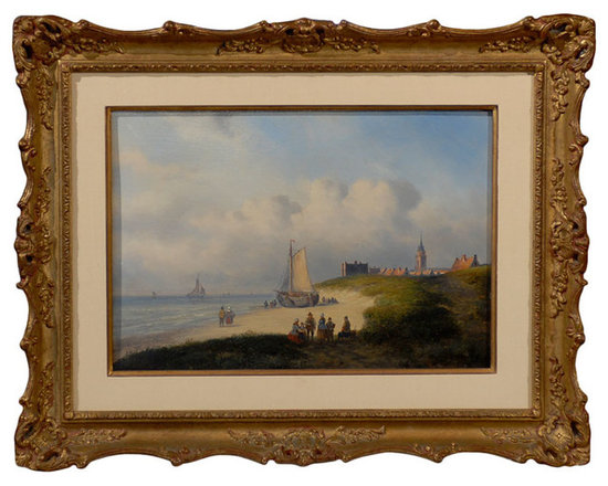 "Current Inventory for Purchase - ""View of Scheveningen with Ship"" by Carl Eduard Ahrendts"