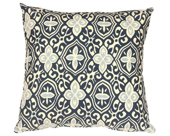 Pillow Decor - Pillow Decor - Alhambra Handprint Indigo 18X18 Throw Pillow - Inspired by Moorish tile and stamped tin ceilings with geometry that feels new and old at the same time, this 100% cotton pillow is something to admire. The exquisite handcrafted print is in a soft indigo and sky blue set against a cream background.