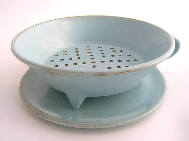 Large Colander and Plate traditional-colanders-and-strainers