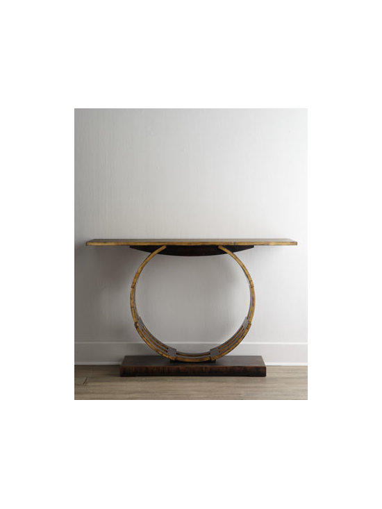 """John-Richard Collection - John-Richard Collection """"Analisa"""" Console - Behold the beauty of this handcrafted console constructed of a series of interlocking curved rails finished in Windsor black with aged gilt accents. This piece is sure to charm any space. From the John-Richard Collection. Handcrafted of acacia wood, w..."""